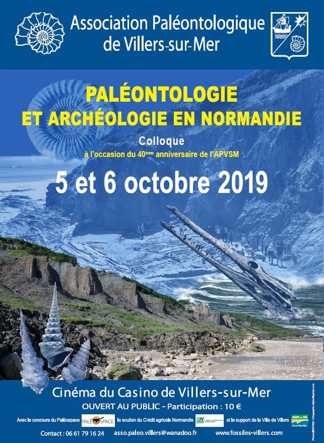 Affiche Colloque des 40ans de l'Association de Paléontologie de Villers sur mer
